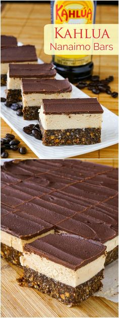 Kahlua Nanaimo Bars - a celebration of my favourite coffee liqueur and my favourite Canadian cookie bar. Perfect for the Holidays. Yummy Treats, Delicious Desserts, Sweet Treats, Rock Recipes, Sweet Recipes, French Recipes, Bar Recipes, Holiday Baking, Christmas Baking