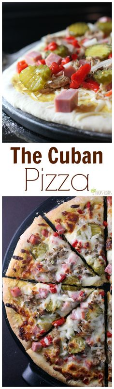 Slow cooked pork and sweet pickles are just the beginning of this Cuban pizza. This Cuban cuisine inspired, Cubano pizza recipe is easy, fun, and DELICIOUS. Cuban Recipes, Pizza Recipes, Dinner Recipes, Yummy Recipes, Dinner Ideas, Keto Recipes, Yummy Food, Pizza Pizza, Recipes