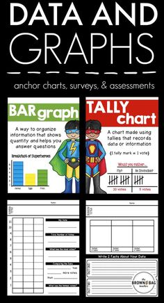 Collecting data and creating surveys are two of the most 'social' parts of math in primary grades! This resource includes anchor charts for introducing ways to show data, as well as, printables for collecting/analyzing data.