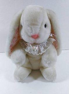 "10"" Ganz Bros White Bunny Rabbit Floppy Floral Ears Soft Plush Toy  B257"