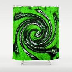 Elektrik Green Shower Curtain by Khana's Web - $68.00