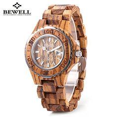 Bewell ZS-100BL Women Wooden Quartz Watch with Luminous Hands 30M Water Resistance Date Wristwatches – Wooden Watches Store