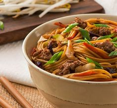 Skip take-out and cook-in instead, with this (no-chopping required) supper! By stocking just a few affordable items you can have a delicious, hot noodle bowl ready in minutes. Tips Shortcut the recipe even further by replacing the homemade sauce with 2 Homemade Pasta Dough, Homemade Sauce, Food Dishes, Main Dishes, Spicy Sauce, Hot Sauce, Mixed Vegetables, Recipe Today, How To Cook Pasta