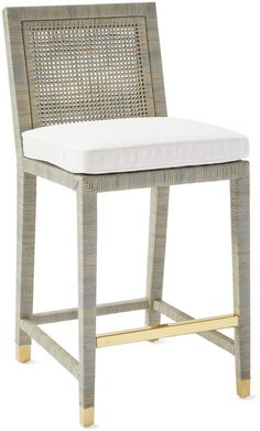Serena and Lily Balboa Counter Stool - Mist Bar Chairs, Room Chairs, Bar Stools, Counter Stools With Backs, Ikea Chairs, Dining Chairs, Contemporary Beach House, Stool Cushion, Chair Cushions