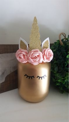 Pink and Gold Baby Shower, Pink and Gold Birthday Decorations, Unicorn Mason Jars, Unicorn Birthday, Unicorn Themed Birthday Party, Gold Birthday, Unicorn Party, Baby Shower Decorations For Boys, Baby Shower Centerpieces, Birthday Decorations, Centerpiece Decorations, Unicorn Centerpiece, Pink And Gold Decorations