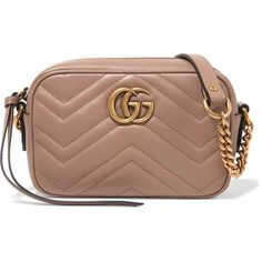 Gucci GG Marmont Camera mini quilted leather shoulder bag (€750) ❤ liked on Polyvore featuring bags, handbags, shoulder bags, blush, crossbody purses, shoulder strap bags, quilted crossbody, gucci shoulder bag and cross-body handbag
