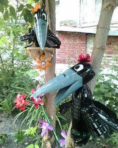 Reuse Plastic Bottles, Plastic Bottle Flowers, Bottle Cap Art, Plastic Bottle Crafts, Recycled Bottles, Recycled Crafts, Diy And Crafts, Diy Garden Projects, Garden Crafts