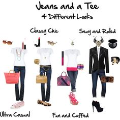 """""""Jeans and a Tee $ Looks"""" by flairbybrandi on Polyvore"""