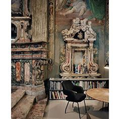 A bit of magic for your eyes on this Saturday afternoon. Architect Massimiliano Locatelli's office in a converted 16th century church in Milano #inspiration #alter #crypt #frescoes #marble #baroque #milan #italy #incredible by acasserlyinteriors