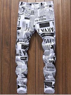 Newspapers Print Narrow Feet Skinny Jeans
