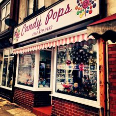 Candy Pops sweet shop in Monton, Greater Manchester, United Kingdom, photograph by Anne-Marie Marshall. Store Front Windows, Candy Pop, Salford, Stalls, Window Shopping, Store Fronts, Manchester United, United Kingdom, Photograph