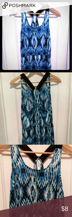 Sun Dress or Swimsuit Cover Up Easy tank dress. Could be used as a cover up or worn as a summer dress. Satin-like material. Vibrant blues in a tie-die or ikat type print. Midi style. Hits just lower than mid-thigh on me. 100% polyester and fabric is slightly see through in the right light. Might need a slip. Como Vintage Dresses Midi