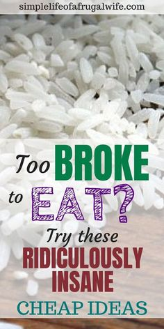 Cheap meals to eat when you are broke – Simple Life of a Frugal Wife What can yo… Comidas baratas. Dirt Cheap Meals, Cheap Meals To Make, Inexpensive Meals, Food To Make, Cheap Food, Healthy Cheap Meals, Simple Cheap Meals, How To Eat Cheap, Recipes