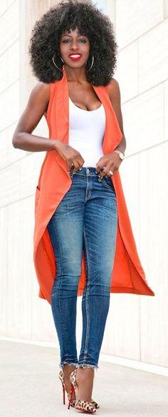 #summer #trendy #outfits |  Draped Lapel Vest + Tank Bodysuit + Ankle Length Jeans