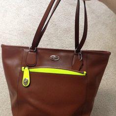 63c2db637b Coach F34700 Saddle Neon Yellow Tote Bag on Sale