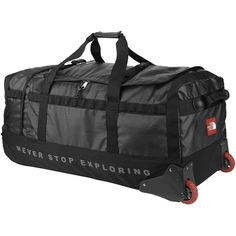 The Rolling Thunder Large is a 120 litre capacity roller luggage duffel, allowing you to pack generously for extended adventures. Duffle Bag Travel, Travel Bags, Duffle Bags, Semester At Sea, Rolling Duffle Bag, Long Haul, Sports Equipment, Gym Bag, The North Face