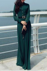 Retro Style Stand Collar Solid Color With Belt Long Sleeve Women's Maxi Dress