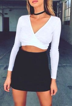 //pinterest @esib123 //  #style #inspo #fashion  black skirt and white crop top