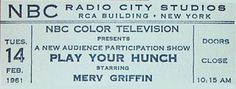 <3 an NBC Play Your Hunch Ticket from 1962.