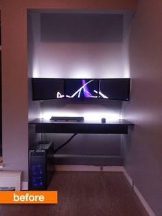 Before & After: The Converted Closet Floating Desk Home Office — Reddit