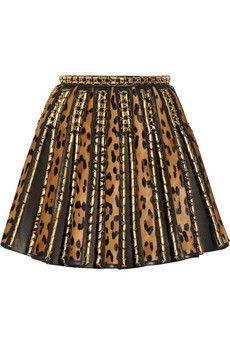 #dreamitem Balmain Embellished leopard-print calf hair and leather mini skirt | NET-A-PORTER