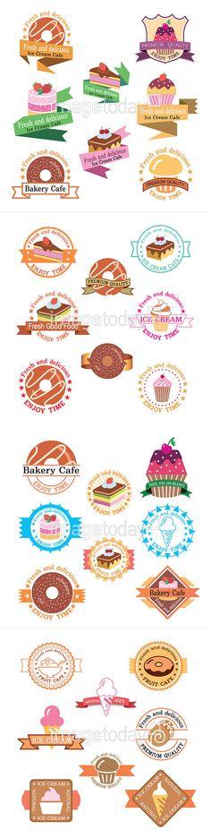 일러스트 ai 간식 다양함 달콤함 도넛 디저트 라벨 리본 머핀 세트 스티커 엠블럼 음식 일러스트레이터 일러스트레이션 조각케이크 컨셉 컵케이크…