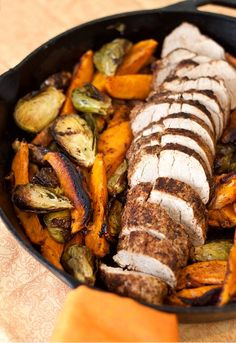"Roasted Pork Tenderloin with Zesty Dry Rub  || Super duper easy. And, a one pan dish as well! Sear off the pork loin in a cast iron pan, toss in some veggies, then finish cooking in the oven. In less than 30 minutes, dinner is on the table."" #tideandthyme.com"