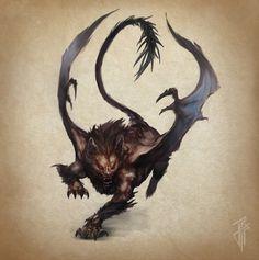 ArtStation - Manticore, Julien Carrasco / Reference for Special Enemy Manticore Fantasy Monster, Monster Art, Creature Concept Art, Creature Design, Magical Creatures, Fantasy Creatures, Dragons, Manticore, Fantasy Beasts