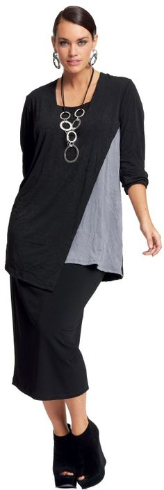 My Size Grey Mist Layered Top- making her slimmer