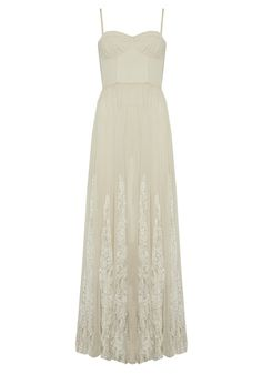 GENEVA BUSTIER FLARE PLEAT MAXI DRESS | Alice + Olivia |