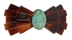 Caravan French Bow Automatic Barrette Decorated with Turquoise Bead * Find out more about the great product at the image link.(This is an Amazon affiliate link)