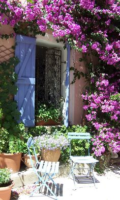 Love the Bougainvillea climbing over the walls and blue shutters. Old Grimaud, Provence, France-IRONWORK DOOR Dream Garden, Home And Garden, Summer Garden, Outdoor Spaces, Outdoor Living, Provence France, Provence Garden, Garden Inspiration, Beautiful Gardens