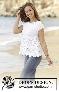 Top with lace pattern and raglan, worked bottom up in DROPS Muskat. Size: S - XXXL.