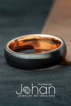 Black Zirconium and 14k rose gold combine for a sleek, modern look. #JewelrybyJohan