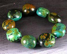 Natural Turquoise Bracelet - Ancient Jewelry - Turquoise Nugget - Ethnic Beaded Bracelet - Tibetan Turquoise - Chunky - Statement. $77.00, via Etsy.