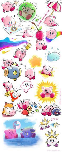 Kirby Many Sketches blopa1987.deviantart.com www.facebook.com/Blopa.page