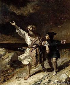 Louis Boulanger - King Lear and the Fool in the Storm, Act III Scene 2 from 'King Lear' by William Shakespeare (1564-1616) 1836