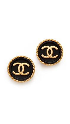 d83f3620bc1 Vintage Chanel black + gold earrings Vintage Earrings