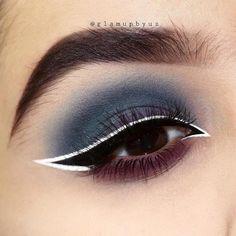 Makeup Eye Looks, Eye Makeup Art, Eyeshadow Looks, Pretty Makeup, Skin Makeup, Eyeshadow Makeup, White Eyeliner Makeup, White Eyeliner Looks, White Eyeshadow