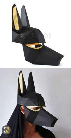 Cardboard Mask, Cardboard Sculpture, Paper Mache Sculpture, 3d Paper, Paper Toys, Paper Clay, Diy Halloween Decorations, Halloween Diy, Wolf Maske