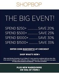 Through Monday, enjoy these AMAZING savings at Shopbop! Up to 35% OFF! Use code: BIGEVENT12 (Click through for more details).