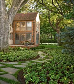 Paths and ground cover, esp around trees, busy areas and shady spots. cottage and vine: Six Ways to Improve Curb Appeal Garden Paths, Garden Landscaping, Landscaping Ideas, Backyard Walkway, Backyard Ideas, Luxury Landscaping, Landscaping Software, Garden Ideas, Landscaping Melbourne