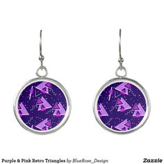 Purple & Pink Retro Triangles Earrings Triangle Earrings, Drop Earrings, Christmas Card Holders, Triangles, Colorful Backgrounds, Purple, Pink, Perfume, Pendant Necklace