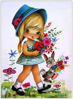 ❤️Nuco ~ Sweet Big Eyed Girl walking in the Garden, Vintage Postcard Vintage Valentine Cards, Vintage Cards, Vintage Postcards, Art Mignon, Retro Kids, Decoupage Vintage, Illustration Sketches, Cute Images, Vintage Comics