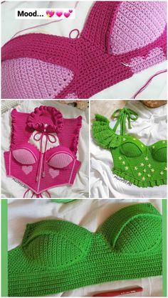 Crochet Crop Top, Crochet Blouse, Crochet Bikini, Crochet Designs, Crochet Patterns, Diy Clothes Projects, Crochet Fairy, Kawaii Crochet, Crochet Fashion
