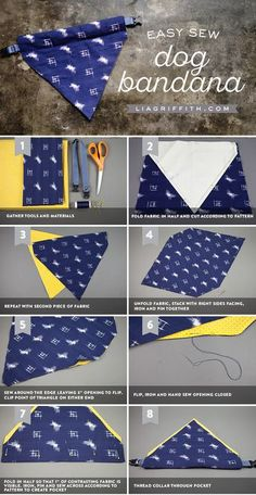 Give your four-legged friends some style by making your own DIY dog bandana. Thi… Give your four-legged friends some style by making your own DIY dog bandana. This simple project will only take a few minutes on the sewing machine. Sewing Projects For Beginners, Easy Projects, Sewing Machine Projects, Diy Sewing Projects, Sewing Machines, Sewing Hacks, Sewing Crafts, Sewing Tips, Sewing Tutorials