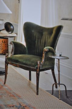 velvet green chair. An idea for the reading nook perhaps?