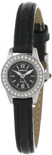 Invicta Women's 13653 Angel Black Dial Crystal Accented Black Leather Watch in UAE   Souq