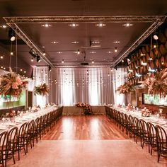 Long Tables and Bentwood Chairs - Modern Party Hire Photo by Joel Roosa Photography Florals - Blooming Bridal Audio Visual and Theming - Scene Change Audio Visual