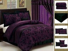 New Royal Purple Black Bedding Flock Satin Comforter set-Full,Queen,King,Curtain Purple Comforter, Purple Bedding Sets, Purple Bedrooms, Black Bedding, Purple Black Bedroom, Luxury Comforter Sets, King Comforter Sets, Queen Bedding, Bedroom Decor